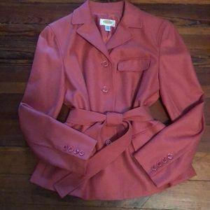 Flannel Wool Belted Blazer